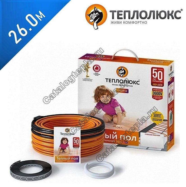 Нагревательный кабель Теплолюкс Tropix ТЛБЭ - 26,0 м.